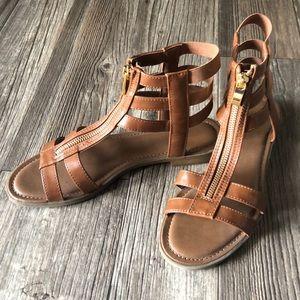 Medina Brown Zip-up Gladiator Sandals